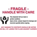 4 X 6 - Fragile - Handle With Care Labels 500/Roll - DL3191